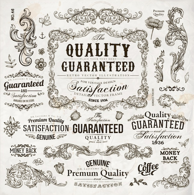 Premium vintage grenze papierseite Premium Vektoren