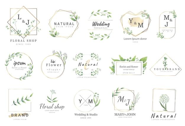 Premium-vorlagen für florale logos Premium Vektoren