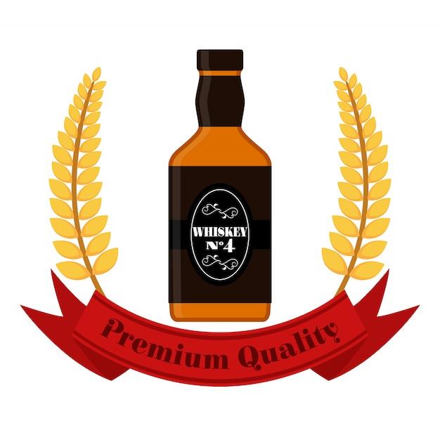 Premium-whisky mit weizenkranz. whiskeyflasche Premium Vektoren