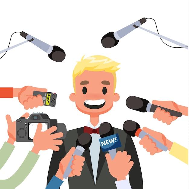 Pressekonferenzkonzept. journalist mit dem mikrofon Premium Vektoren