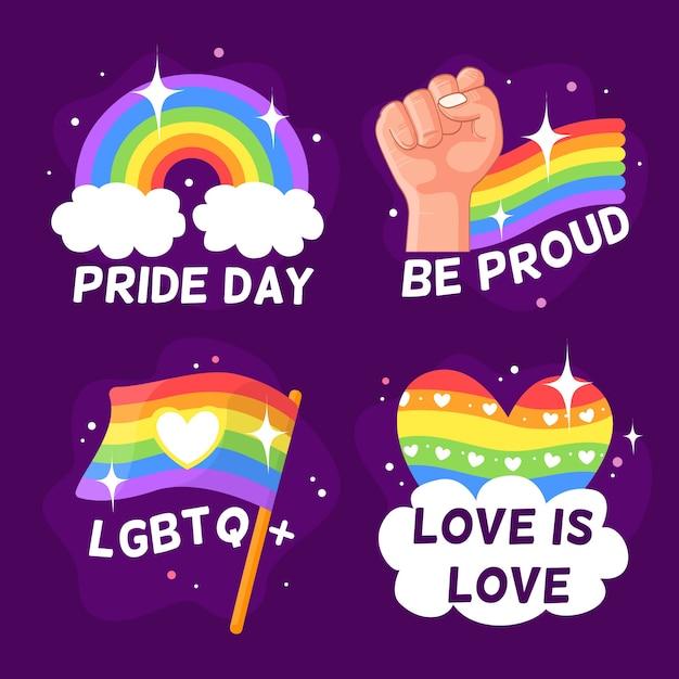 Pride day abzeichen sammlung Kostenlosen Vektoren