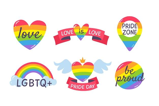 Pride day etiketten sammlung Kostenlosen Vektoren