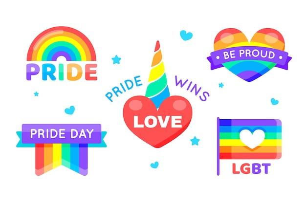 Pride day etikettenpaket Kostenlosen Vektoren