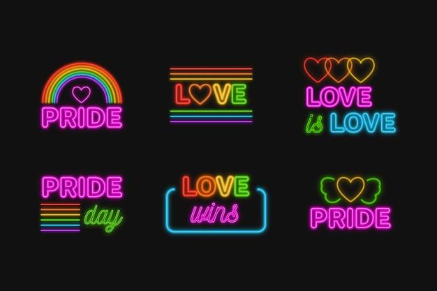 Pride day event leuchtreklamen design Kostenlosen Vektoren