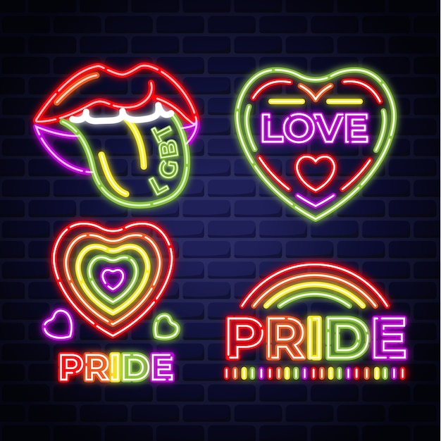 Pride day event leuchtreklamen Kostenlosen Vektoren