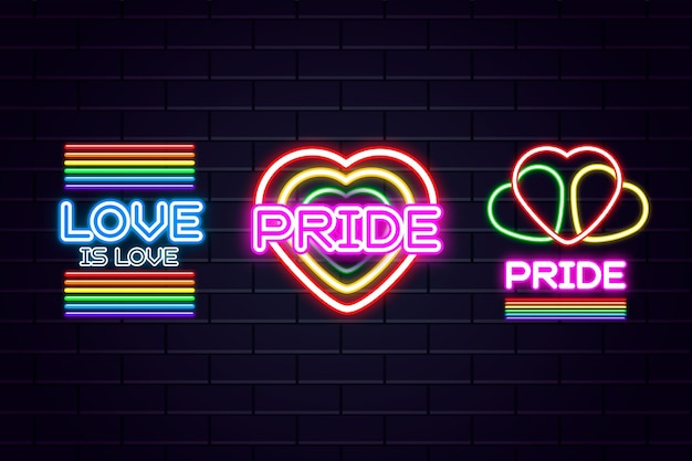 Pride day feier mit leuchtreklamen Kostenlosen Vektoren