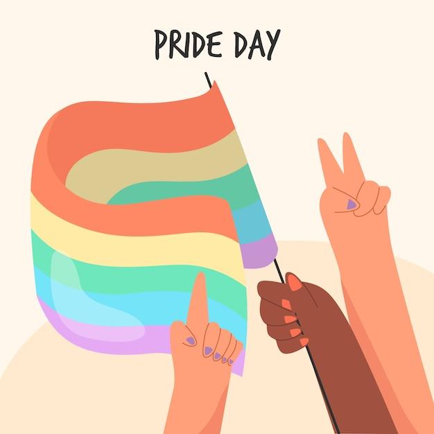 Pride day flag hand gezeichnetes design Kostenlosen Vektoren