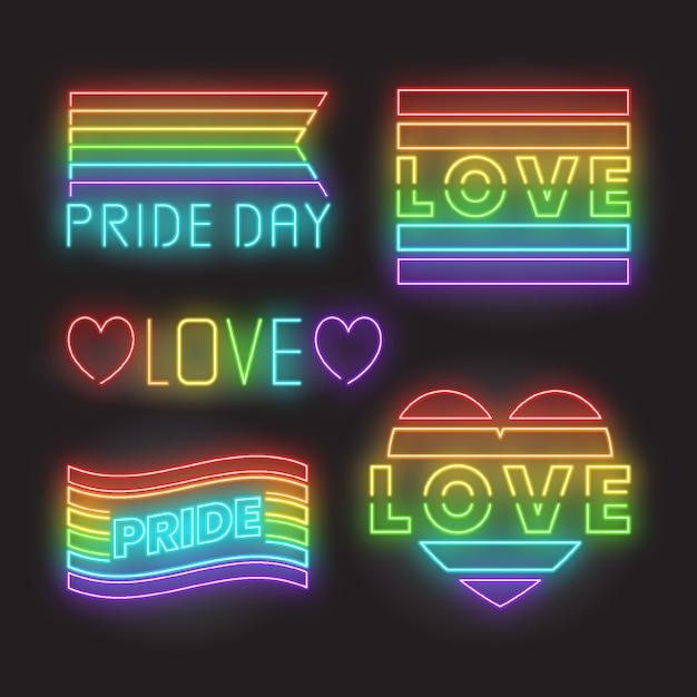 Pride day flag leuchtreklamen Kostenlosen Vektoren