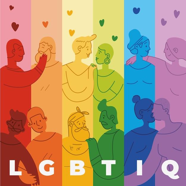 Pride day flag tönung mit menschen hintergrund Kostenlosen Vektoren