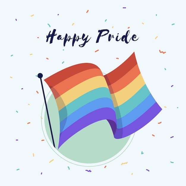 Pride day flagge mit gruß Premium Vektoren