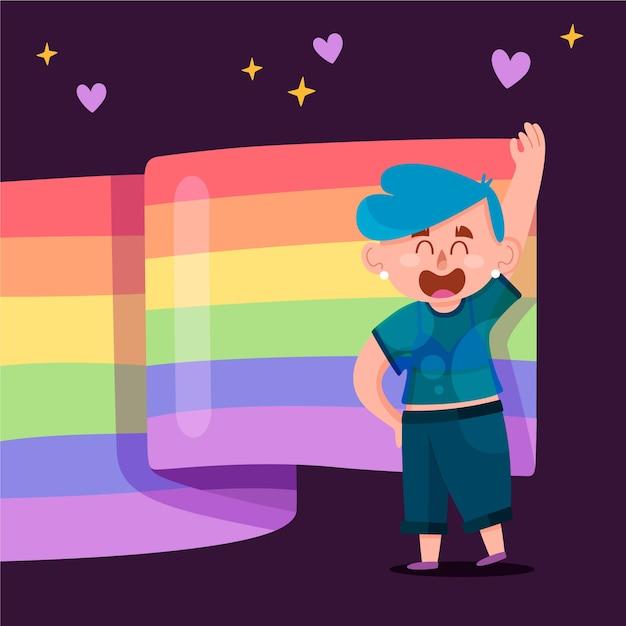 Pride day flagge mit person und herzen Kostenlosen Vektoren