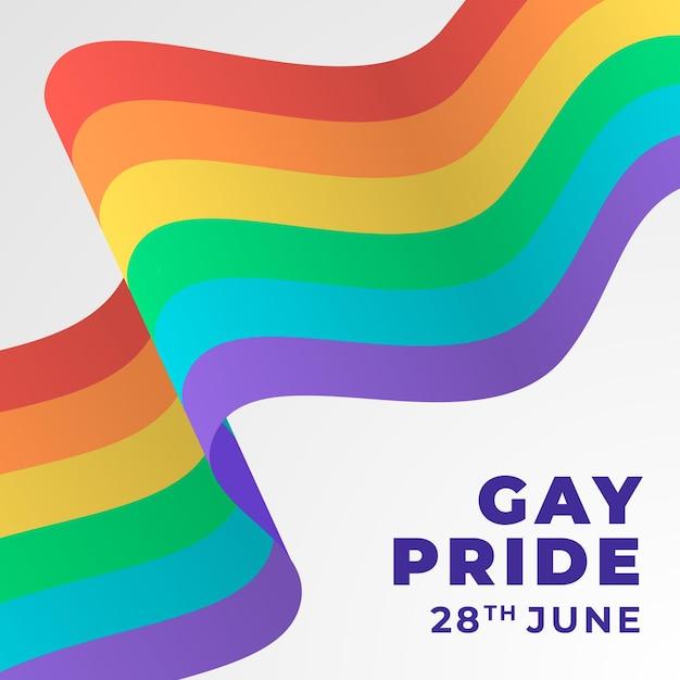 Pride day flagge mit regenbogen Premium Vektoren