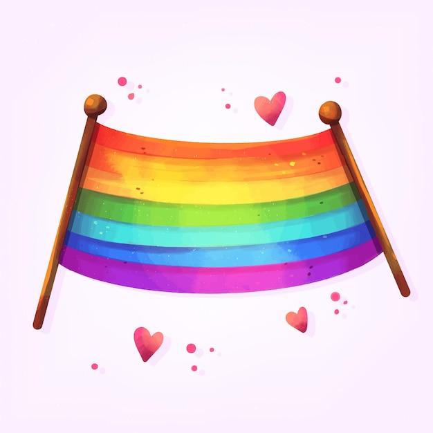 Pride day flagge mit roten herzen Kostenlosen Vektoren