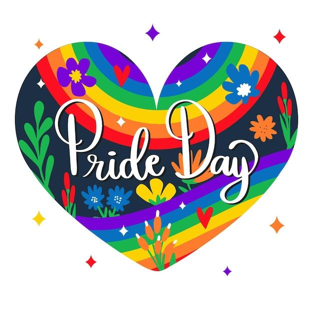 Pride day herzförmiger hintergrund mit schriftzug und blumen Kostenlosen Vektoren