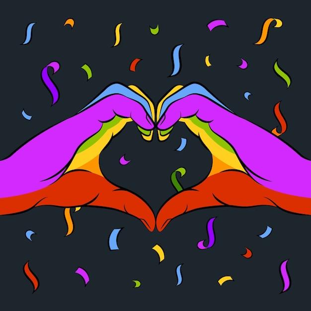 Pride day konzept herz symbol Kostenlosen Vektoren