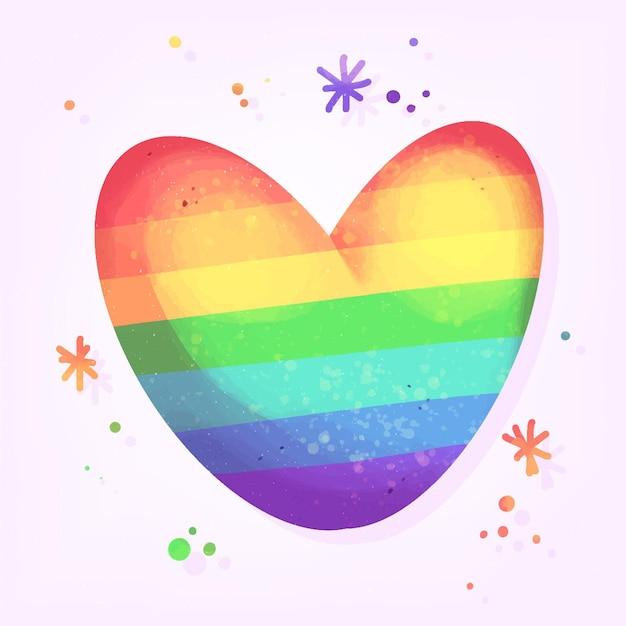 Pride day konzept mit buntem herzen Kostenlosen Vektoren