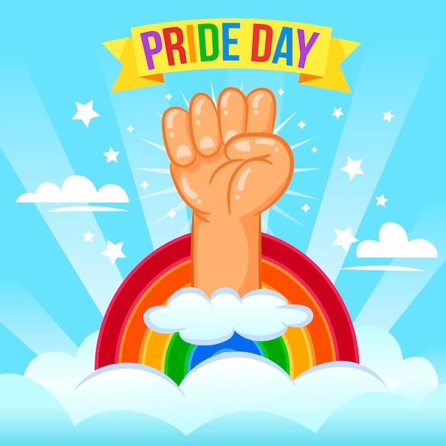 Pride day konzept mit faust Kostenlosen Vektoren