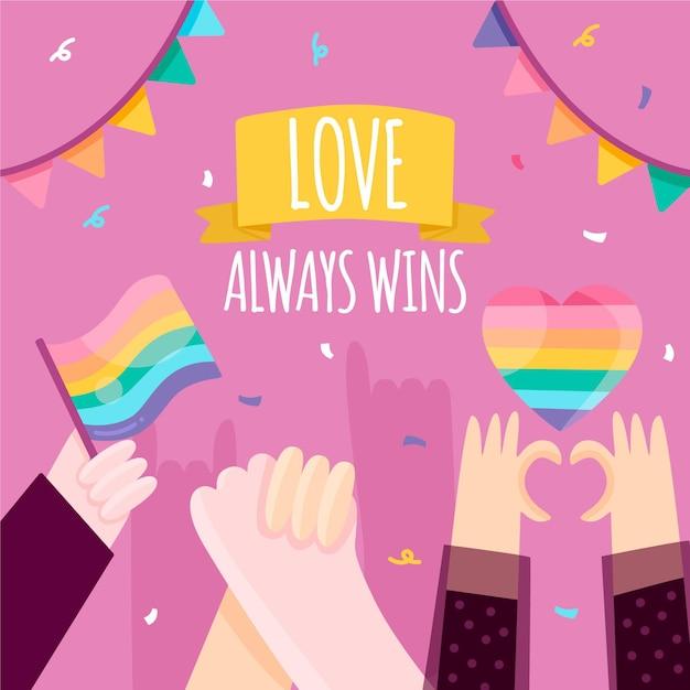 Pride day konzept mit konfetti Kostenlosen Vektoren
