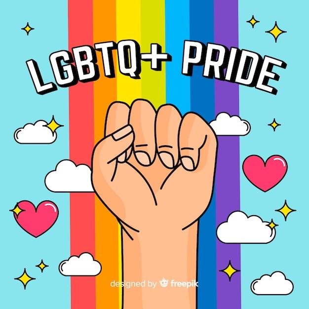 Pride day-konzept mit regenbogen Kostenlosen Vektoren