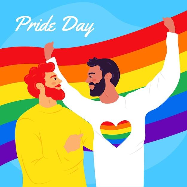 Pride day konzept mit schwulem paar Kostenlosen Vektoren