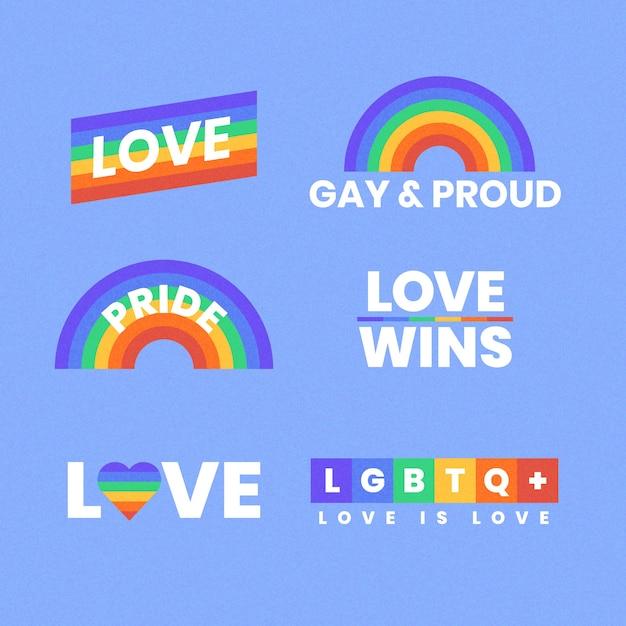 Pride day konzept regenbogen etiketten Kostenlosen Vektoren
