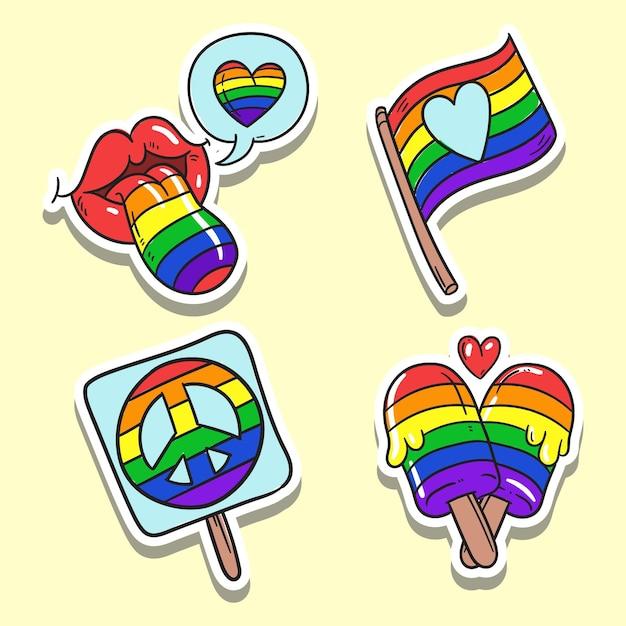 Pride day labels konzept Kostenlosen Vektoren
