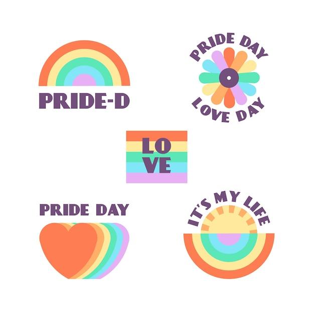 Pride day labels stil Kostenlosen Vektoren