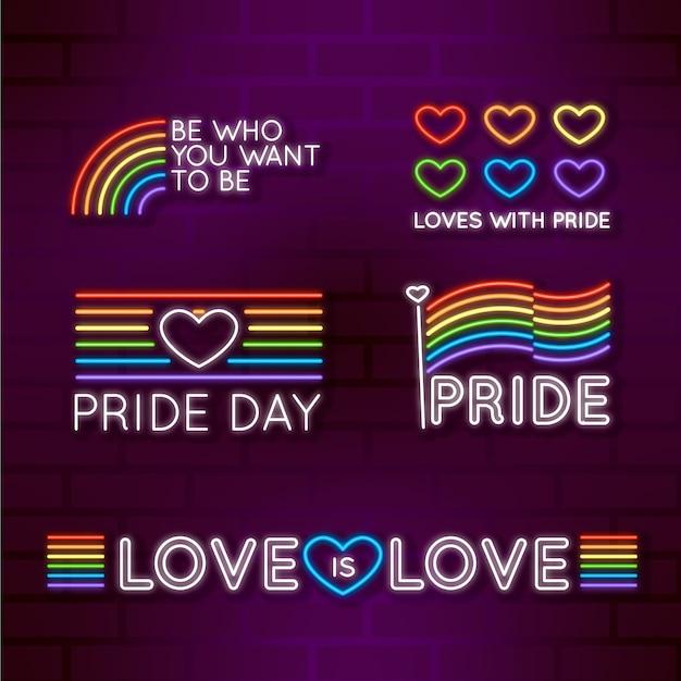 Pride day leuchtreklame sammlung thema Kostenlosen Vektoren