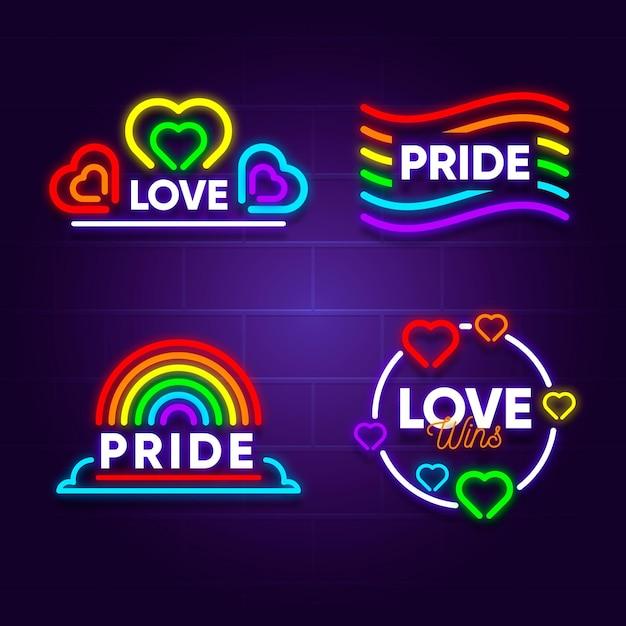 Pride day leuchtreklame sammlung Kostenlosen Vektoren