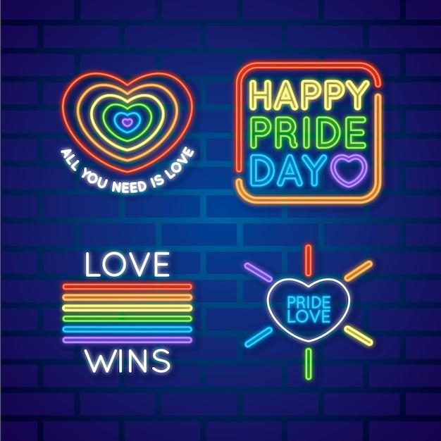Pride day leuchtreklame sammlungskonzept Kostenlosen Vektoren