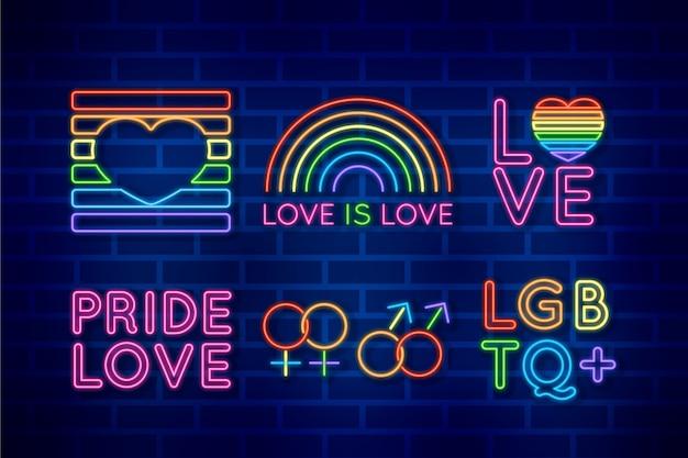 Pride day leuchtreklame thema Kostenlosen Vektoren