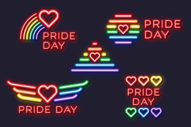Pride day leuchtreklamen design Kostenlosen Vektoren