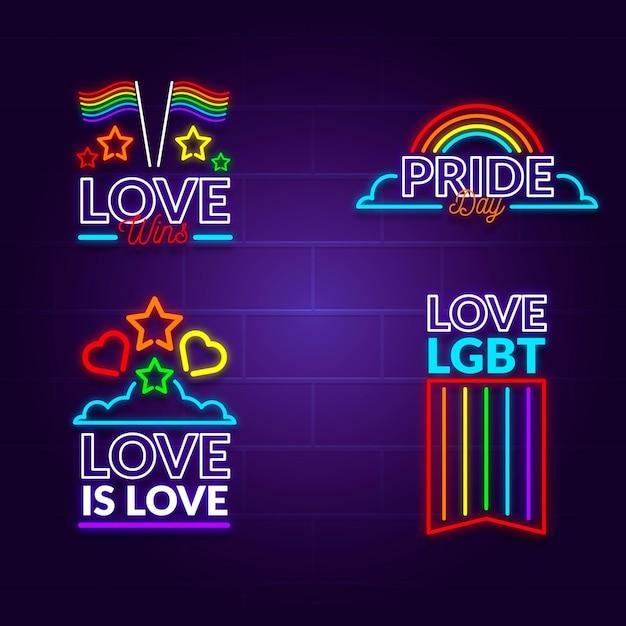 Pride day leuchtreklamen gesetzt Kostenlosen Vektoren