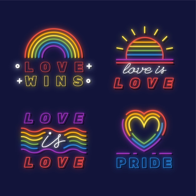 Pride day leuchtreklamen illustrationen pack Kostenlosen Vektoren