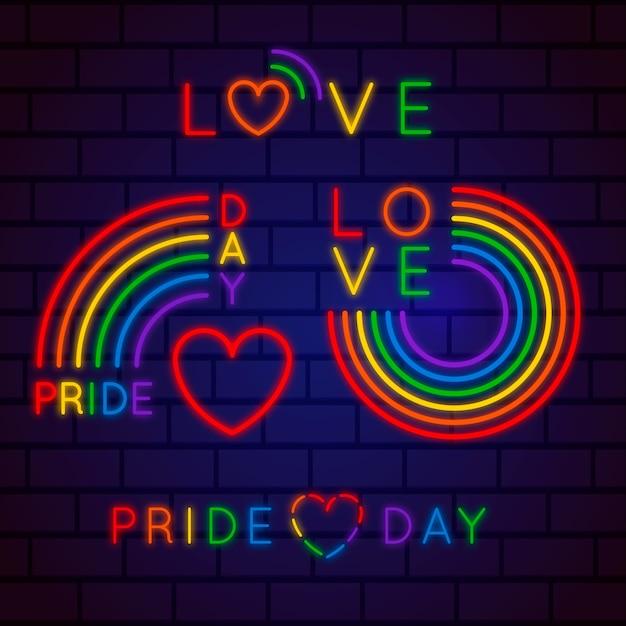 Pride day leuchtreklamen-konzept Kostenlosen Vektoren
