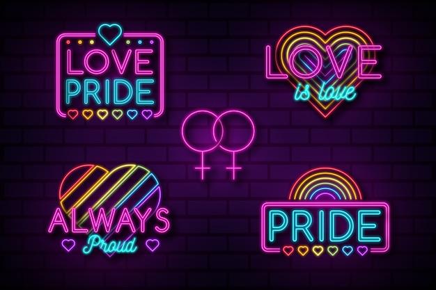 Pride day leuchtreklamen pack Kostenlosen Vektoren