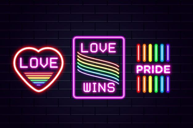 Pride day leuchtreklamen stil Kostenlosen Vektoren