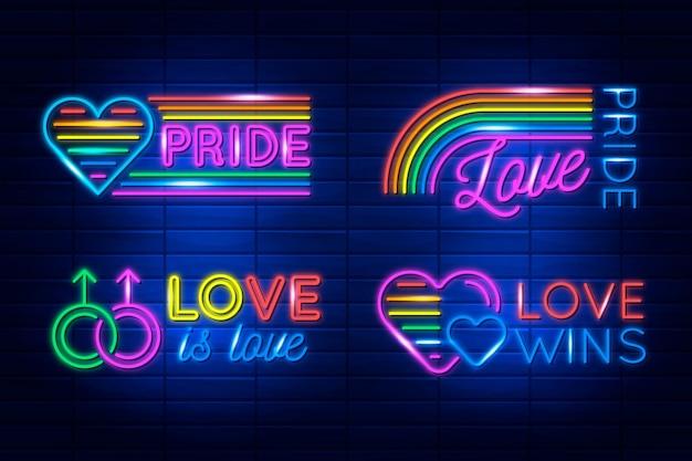 Pride day leuchtreklamen Kostenlosen Vektoren