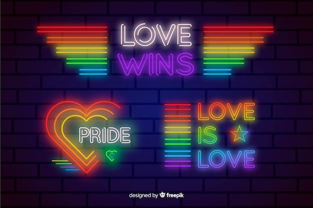 Pride day neon sign sammlung Kostenlosen Vektoren