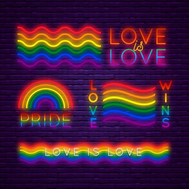 Pride day neonlicht zeichen sammlung Kostenlosen Vektoren