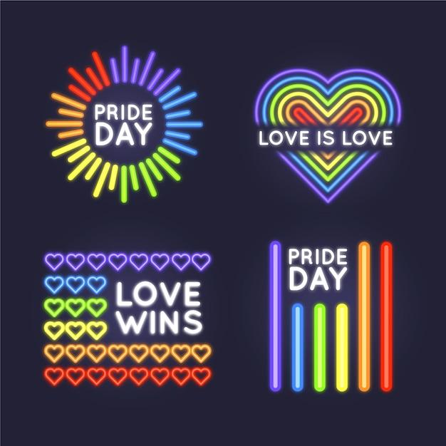 Pride day neonlichtzeichen gesetzt Kostenlosen Vektoren