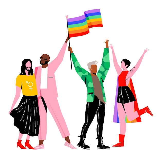 Pride day people-konzept Kostenlosen Vektoren