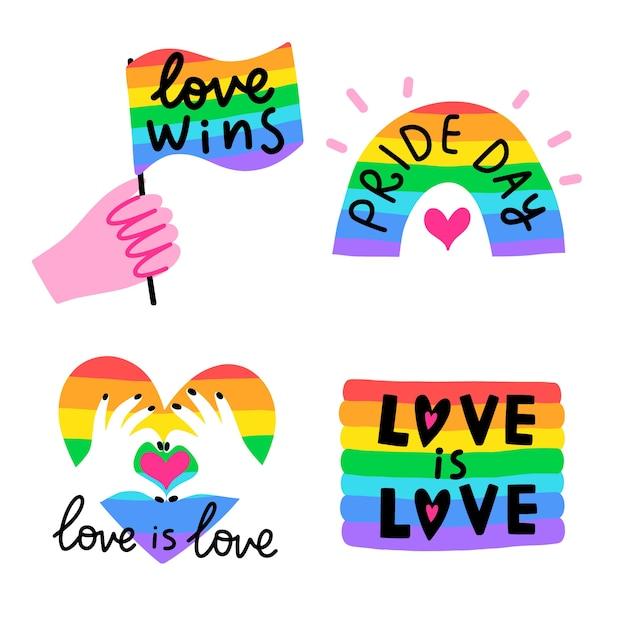 Pride day regenbogen etiketten vorlage Kostenlosen Vektoren