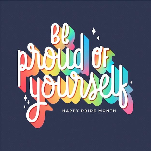 Pride day regenbogen schriftzug Kostenlosen Vektoren