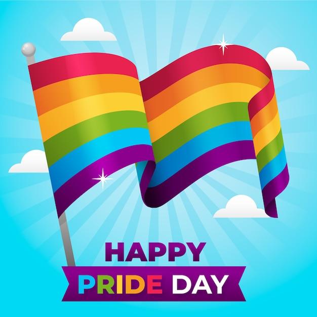 Pride day regenbogenfahne design Kostenlosen Vektoren