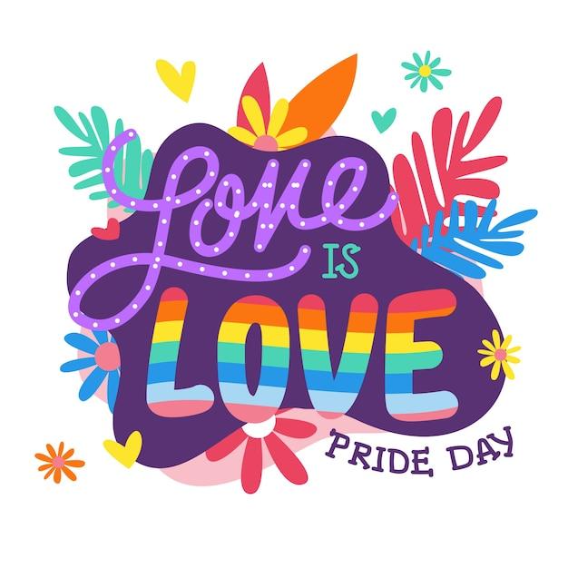 Pride day schriftzug mit blumenhintergrund Kostenlosen Vektoren