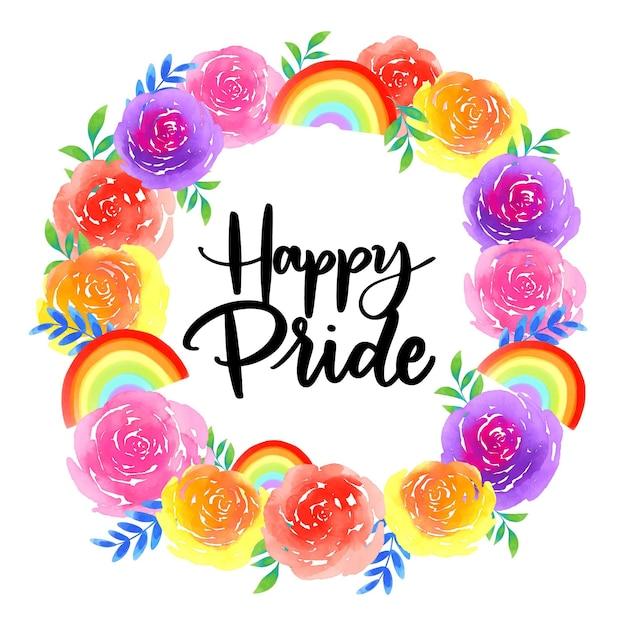 Pride day schriftzug mit blumenkranz Kostenlosen Vektoren