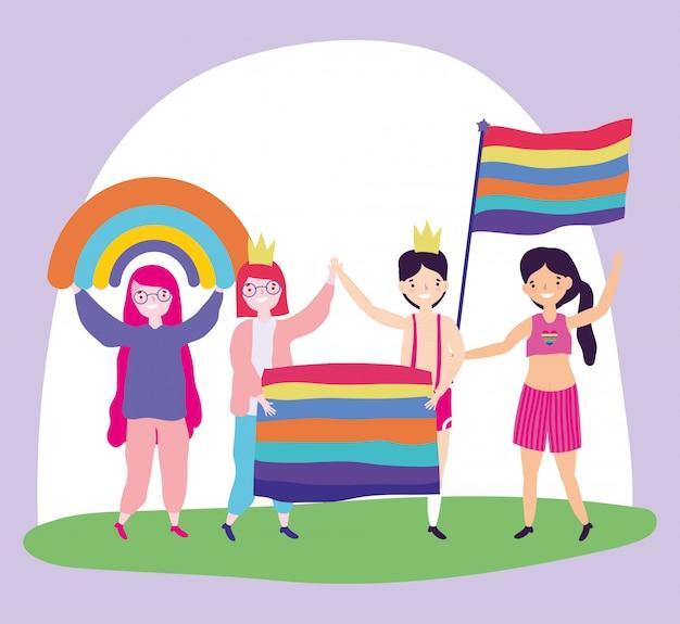 Pride parade lgbt gemeinschaft, menschen mit flaggen homosexuell stolz cartoon Premium Vektoren