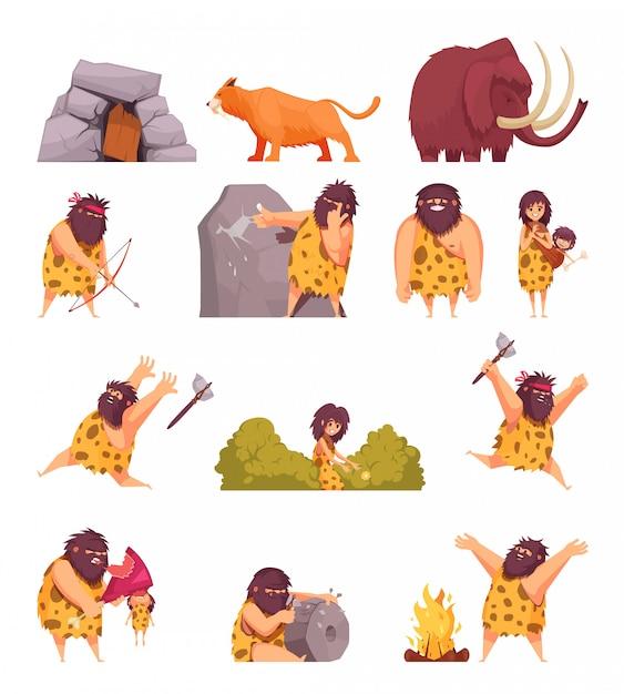 Primitive menschen in steinzeit-cartoon-ikonen mit höhlenmenschenfell mit waffe und alten tieren isoliert Kostenlosen Vektoren