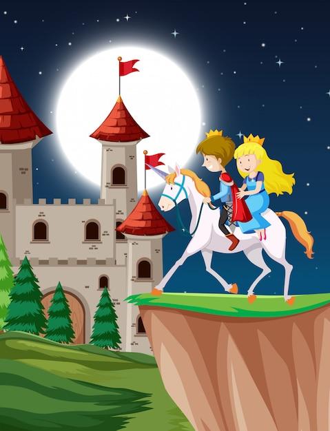 Prinz und prinzessin, die fantasieeinhorn nachts mit mond reiten Kostenlosen Vektoren
